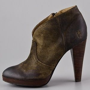 FRYE Harlow Campus Distressed Leather Ankle Bootie